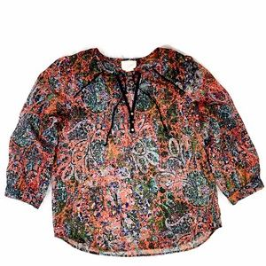 Anthropologie Floral Front Tie Peasant Top -2